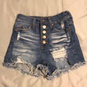 Fashion Nova Dark Blue High Waisted Jean Shorts 3